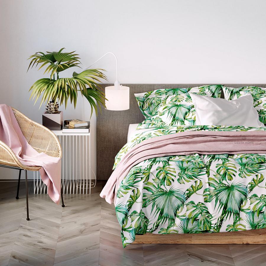 Комплект постельного белья тропики, простынь 180х200 на резинке