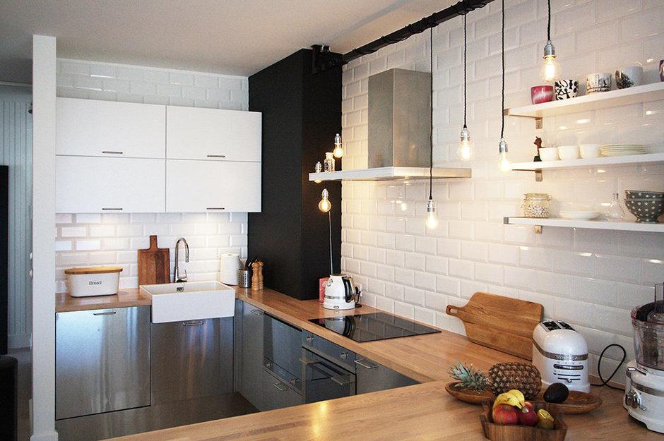 Фотография: Кухня и столовая в стиле Лофт, Скандинавский, Квартира, Цвет в интерьере, Дома и квартиры, Перепланировка – фото на InMyRoom.ru