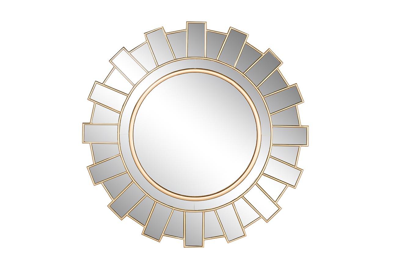 Настенное зеркало в раме золотого цвета фото