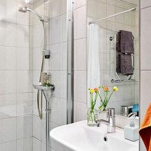 Фотография: Ванная в стиле Скандинавский, Декор интерьера, Квартира, Цвет в интерьере, Дома и квартиры, Стены, Пол – фото на InMyRoom.ru