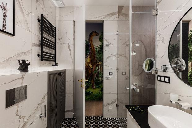 Фотография: Ванная в стиле Современный, Квартира, Проект недели, Москва, Ульяна Скапцова, 3 комнаты, Более 90 метров, US Interiors – фото на INMYROOM