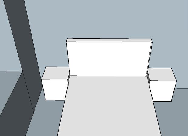 Спальня. Кровать, тумбы, прикроватное освещение.