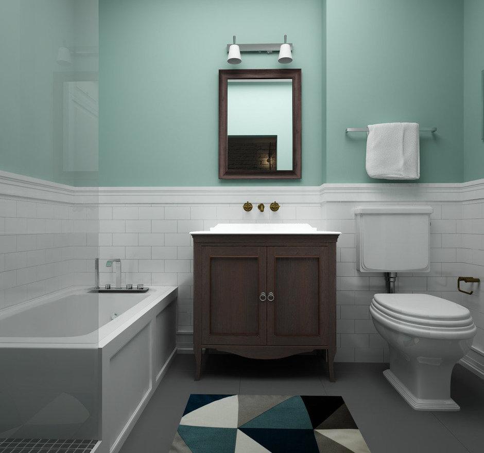Фотография: Ванная в стиле Скандинавский, Квартира, Белый, Проект недели, Синий – фото на InMyRoom.ru