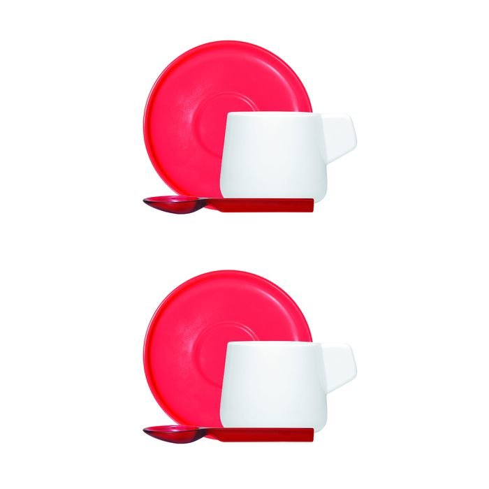 Кофейный набор viceversa «iachetti», 2 чашки + 2 молочника + 2 ложки, красный