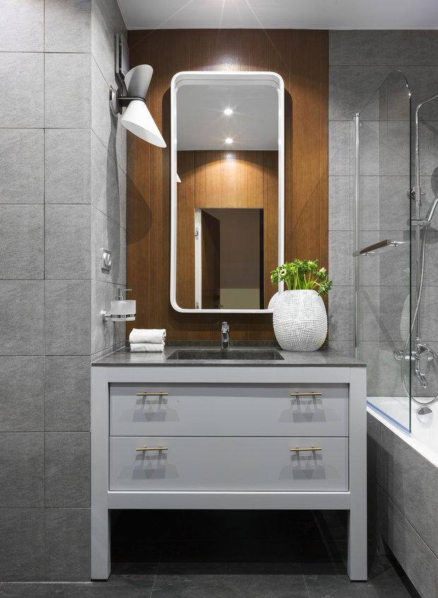Фотография: Ванная в стиле Современный, Квартира, Проект недели, Москва, 2 комнаты, 40-60 метров, 60-90 метров, Анна Чеверева – фото на INMYROOM
