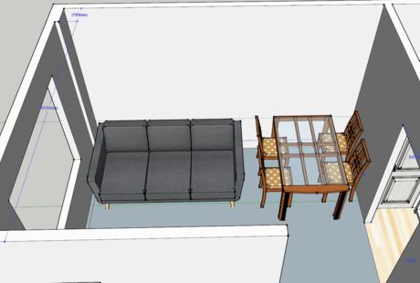 Помогите оформить стену в столовой-гостиной
