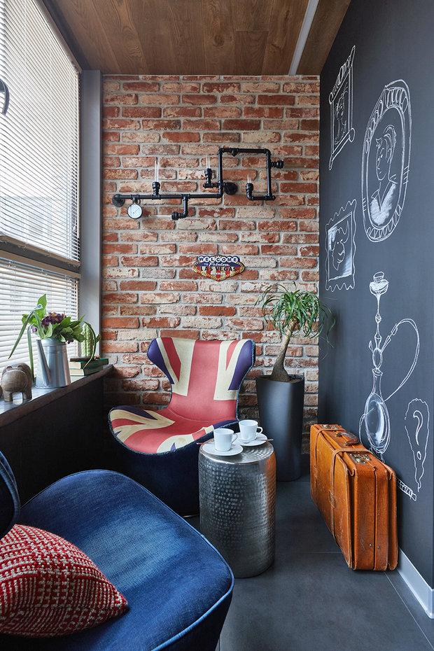 Фотография: Балкон в стиле Лофт, Квартира, Проект недели, Москва, Ольга Райская, Монолитный дом, 2 комнаты, 60-90 метров – фото на INMYROOM