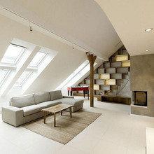 Фотография: Гостиная в стиле Минимализм, Лофт, Дизайн интерьера, Чердак, Мансарда – фото на InMyRoom.ru