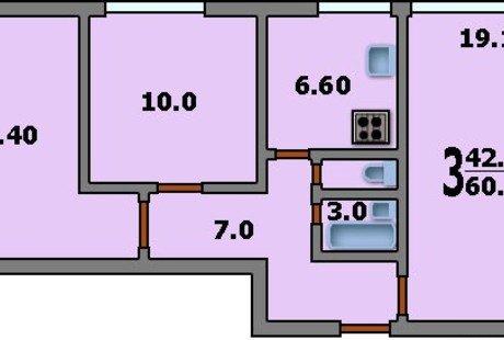 Перепланировка 3-комн. квартиры в доме серии II 68 03 для семьи с двумя детьми.