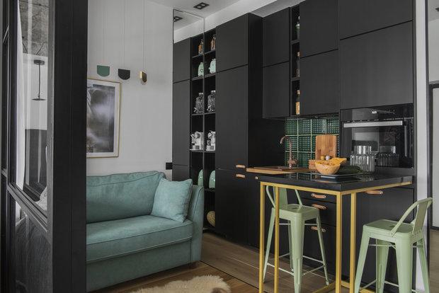 Фотография: Кухня и столовая в стиле Лофт, Современный, Малогабаритная квартира, Квартира, Студия, Советы, 1 комната – фото на INMYROOM