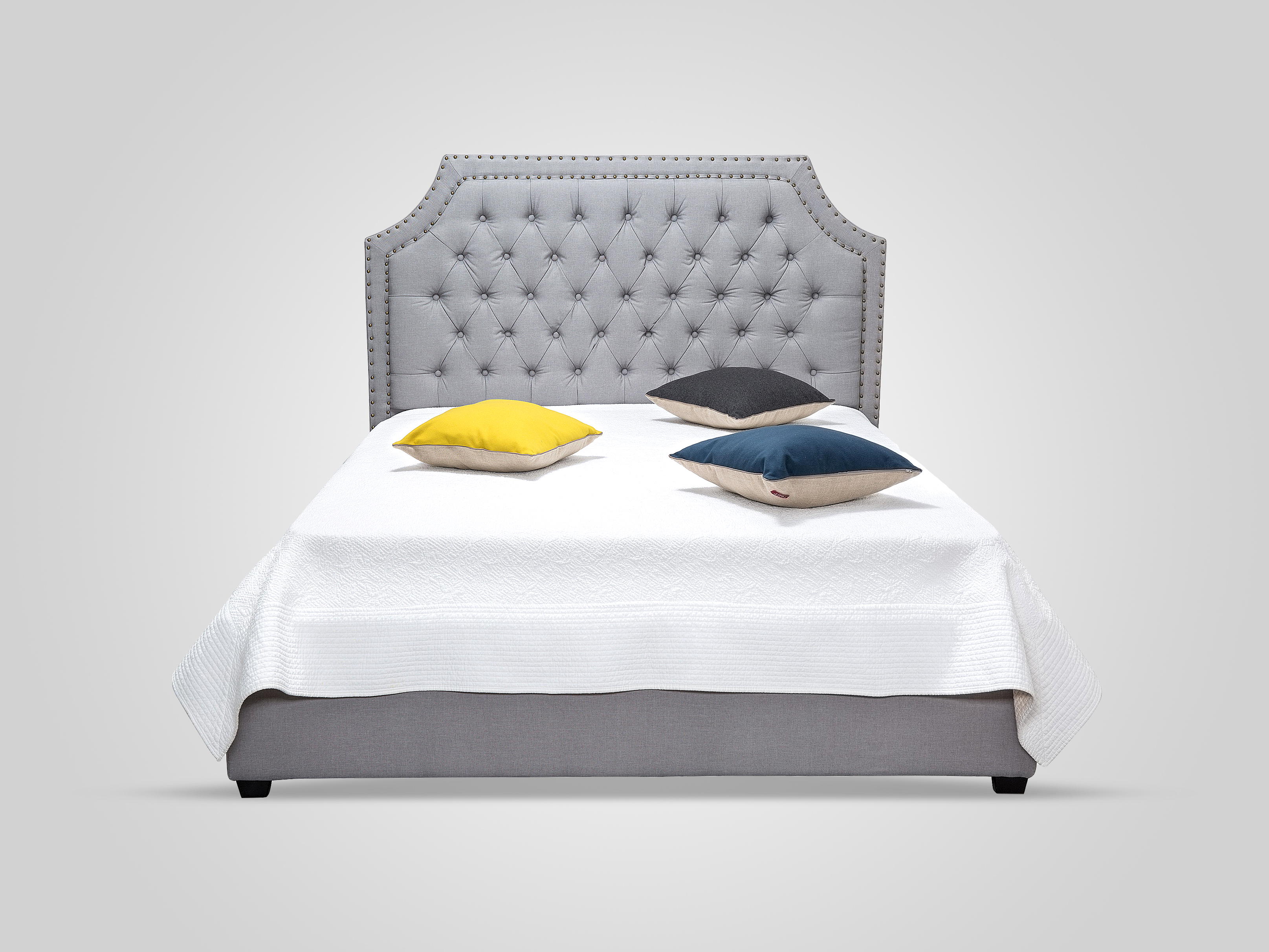 Кровать с подъемным механизмом серого цвета 180x200