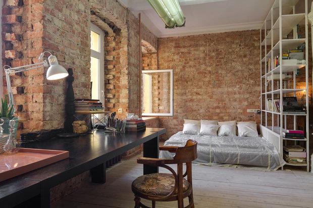 Фотография: Спальня в стиле Лофт, Квартира, Студия, Проект недели, Санкт-Петербург, 40-60 метров, Александр Арнгольдт – фото на INMYROOM