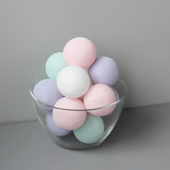 Тайская гирлянда мятно-розово-фиолетовая от розетки