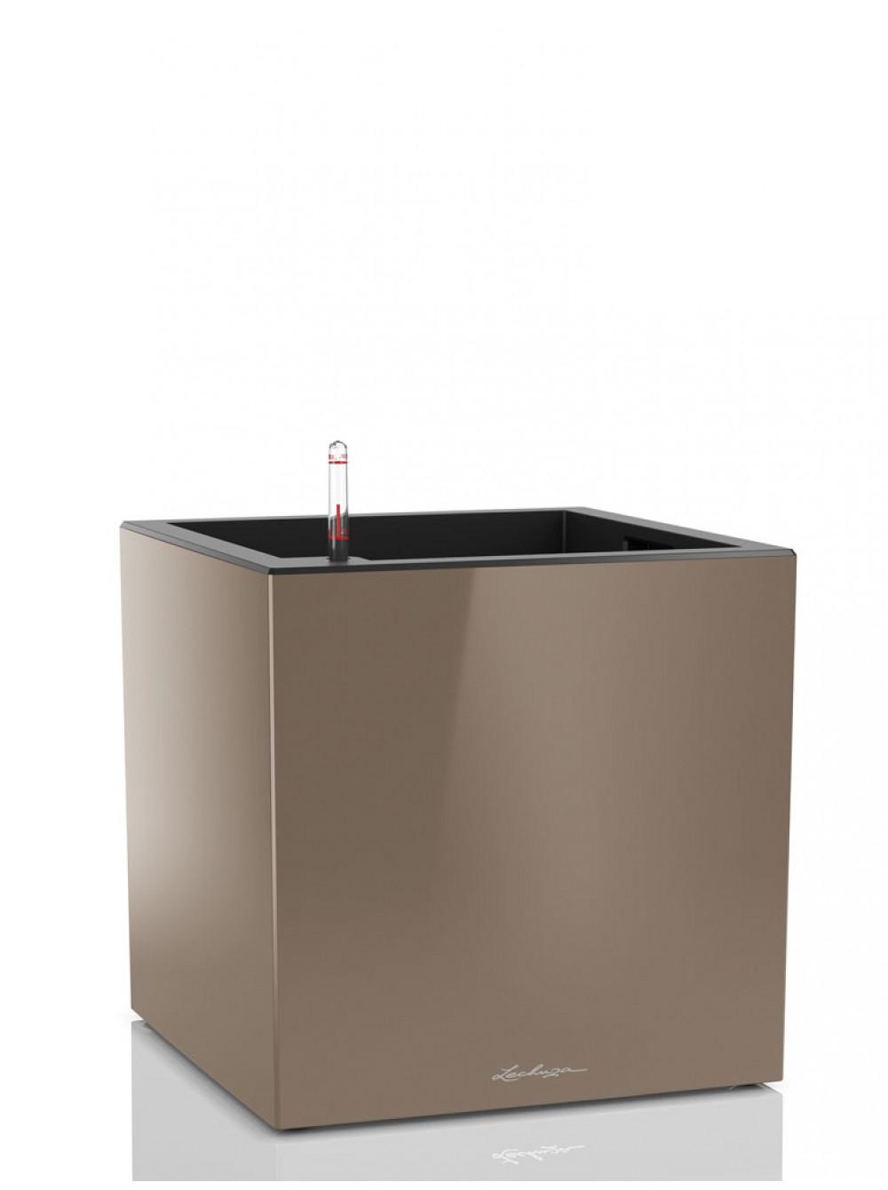 Кашпо канто 40 кубической формы серо-коричневого цвета