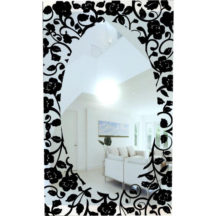 """Зеркало с однотонным рисунком """"Черные розы"""""""