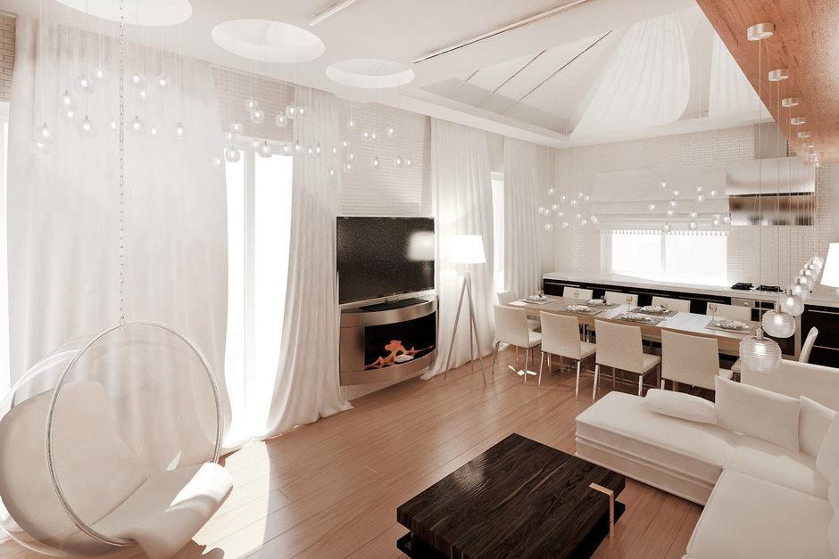 Фотография: Гостиная в стиле Современный, Квартира, Дома и квартиры, Проект недели, Мансарда – фото на InMyRoom.ru