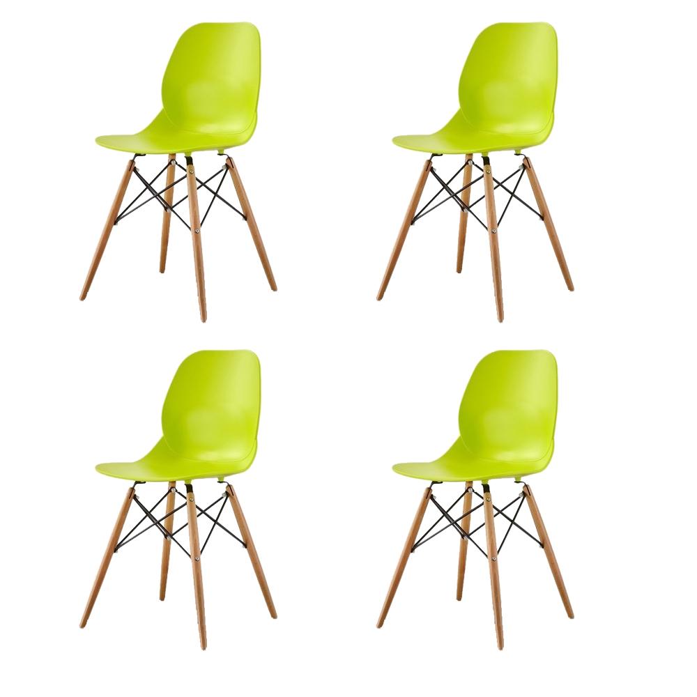 Купить Набор из четырех стульев лаймового цвета на деревянных ножках, inmyroom, Китай