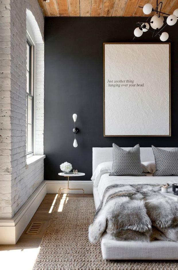 Фотография: Спальня в стиле Лофт, Скандинавский, Текстиль, Дизайн интерьера, Ремонт, Краска – фото на InMyRoom.ru