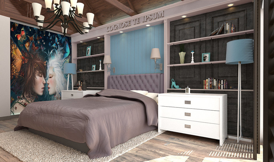 Фотография: Спальня в стиле Эклектика, Дом, Дома и квартиры, Шале – фото на InMyRoom.ru