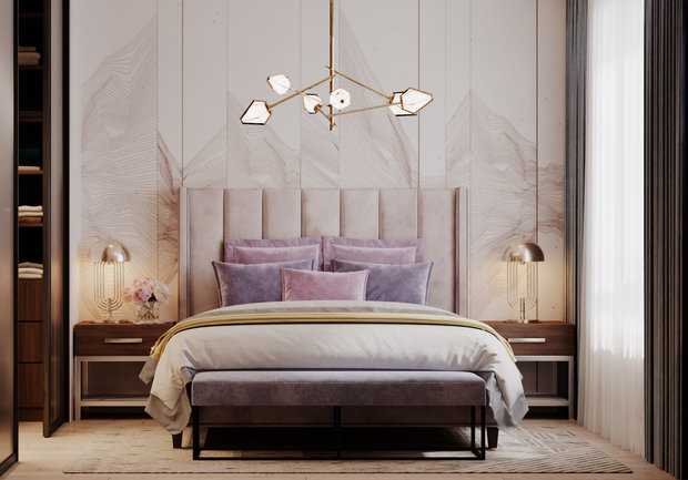 Фотография: Спальня в стиле Современный, Квартира, Проект недели, Samsung, Монолитный дом, 3 комнаты, 60-90 метров, ЖК Headliner, Леся Печенкина – фото на INMYROOM