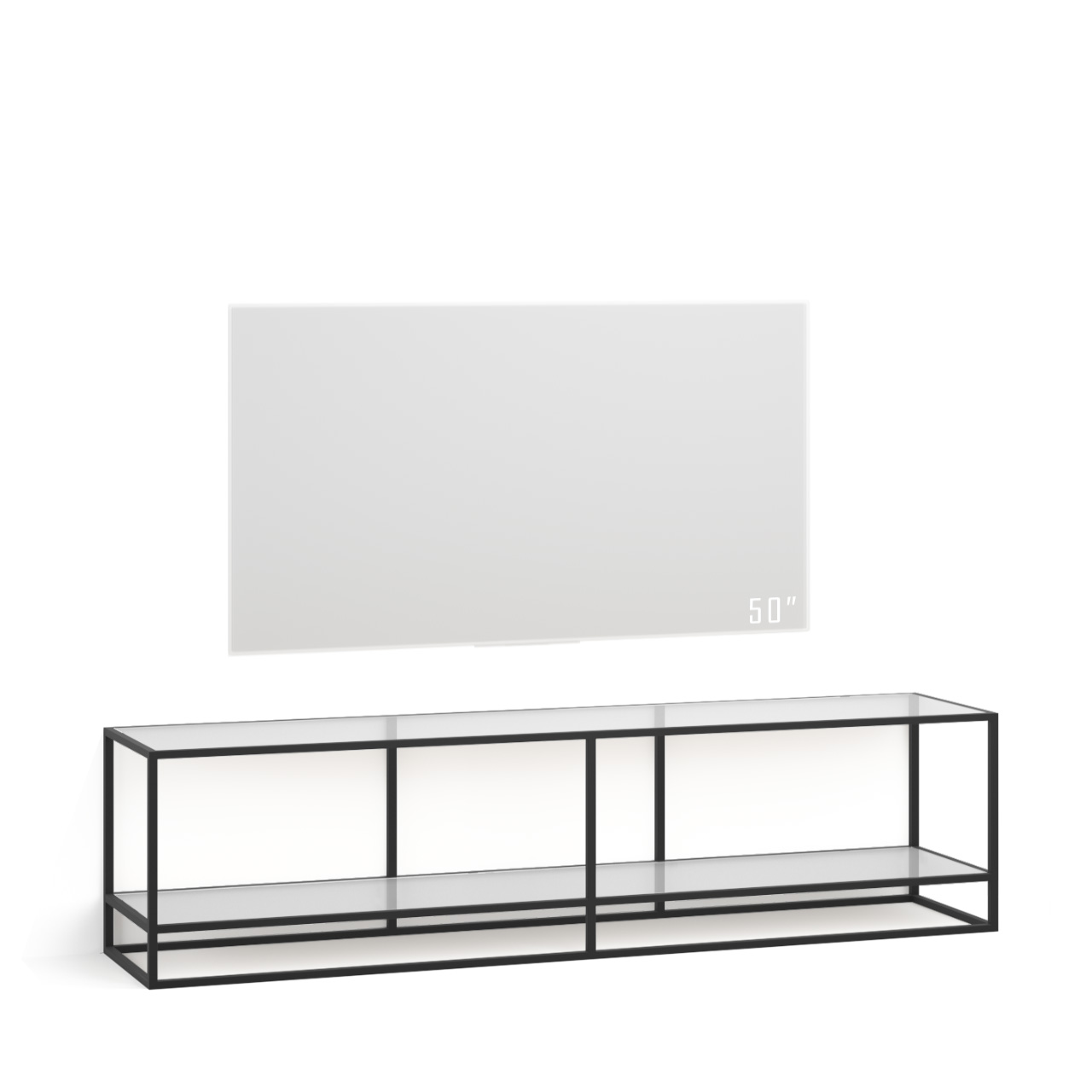 Тумба tv Stand Lite Black со стеклянными полками