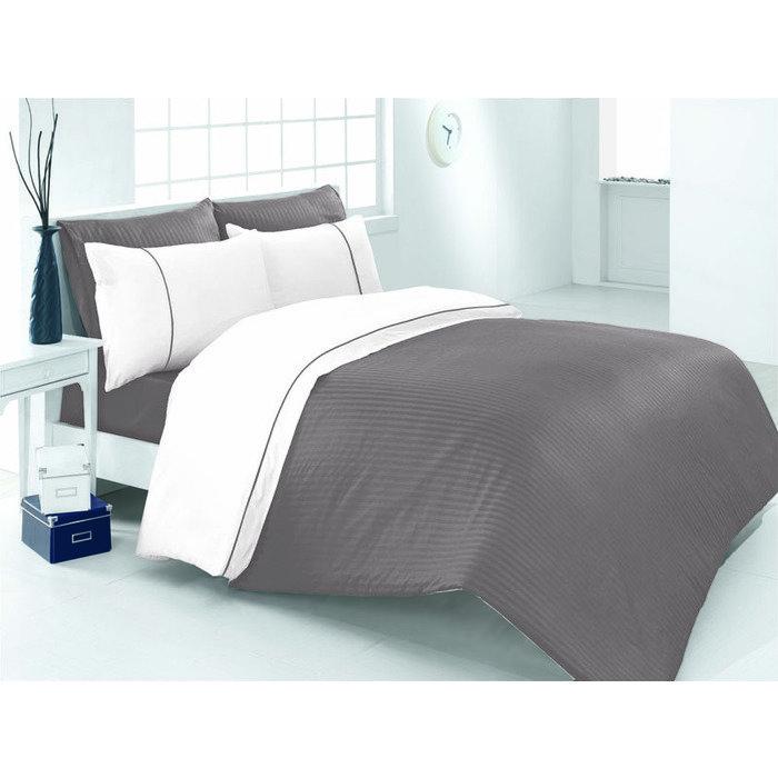 Комплект постельного белья евро Vira серый