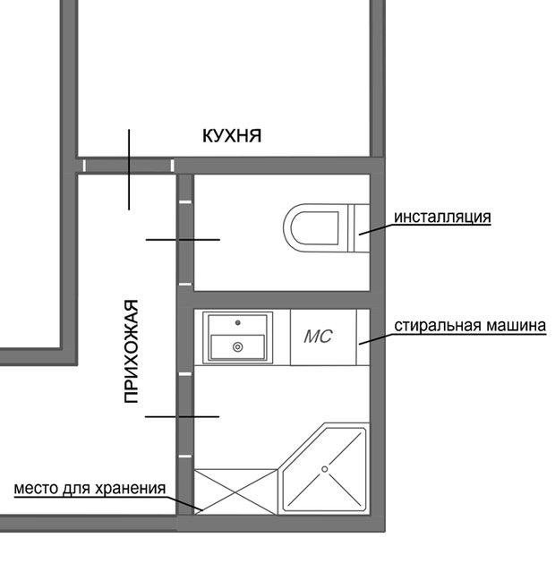 Фотография: Планировки в стиле , Ванная, 8, Перепланировка, планировка санузла, санузел в двухкомнатной квартире дома серии 83, перепланировка маленького санузла, планировка для маленького санузла – фото на InMyRoom.ru