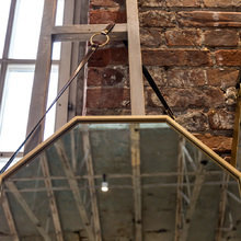 Настенное зеркало Октагон с кожаным подвесом