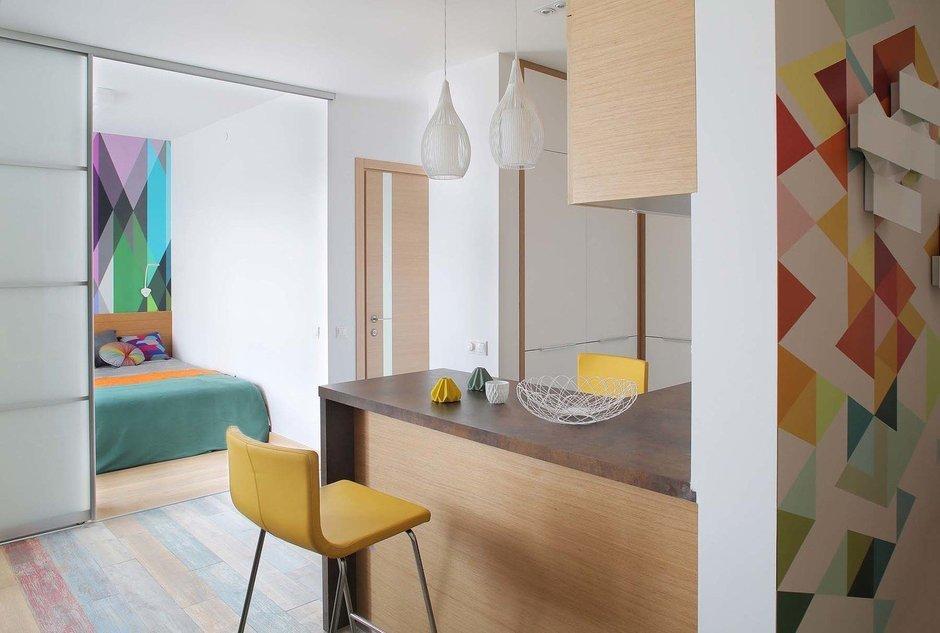 Фотография: Кухня и столовая в стиле Современный, Квартира, Студия, Проект недели, Оксана Олейник, 40-60 метров, Монолитно-кирпичный – фото на InMyRoom.ru