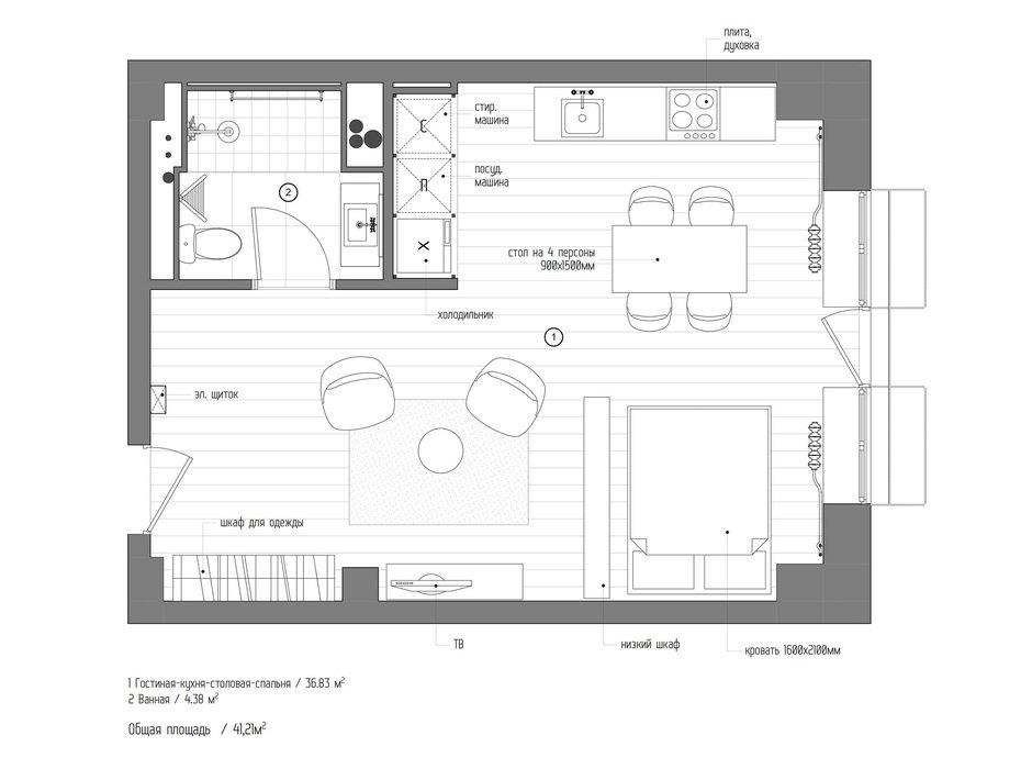 Фотография: Планировки в стиле , Лофт, Квартира, Студия, Проект недели, Москва, Кирпичный дом, до 40 метров, INT2architecture – фото на InMyRoom.ru