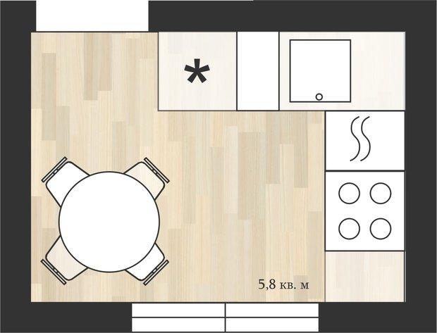 Фотография:  в стиле , Кухня и столовая, Перепланировка, дом серии II-29, Анастасия Киселева, Максим Джураев, дом серии 1-447, Дом серии II-18/12Б, II-29 – фото на InMyRoom.ru
