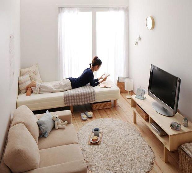 Фотография: Терраса в стиле Лофт, Советы, как совместить спальню с гостиной, как обустроить в одной комнате две зоны, зонирование комнаты – фото на InMyRoom.ru
