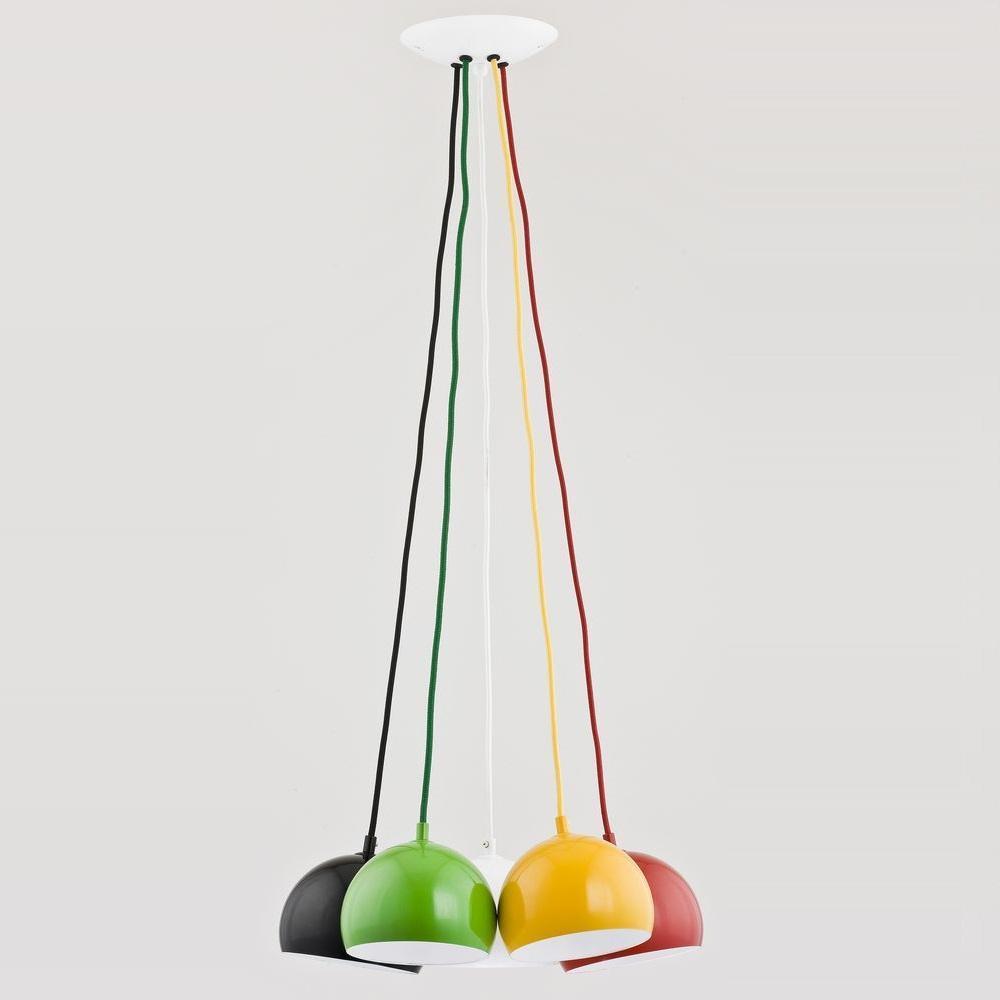 Подвесная люстра Rewia с разноцветными плафонами