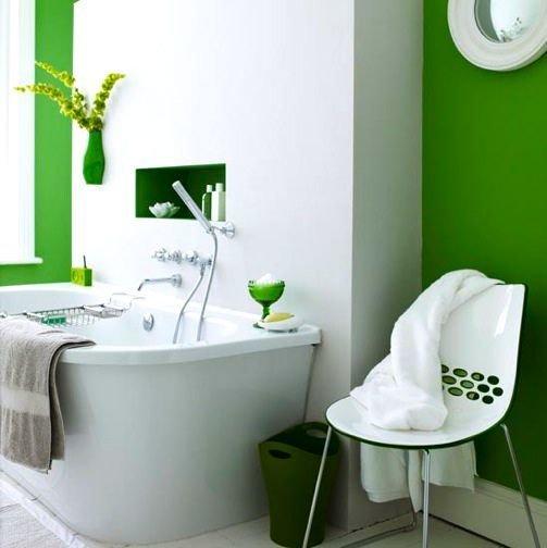 Фотография: Ванная в стиле Современный, Минимализм, Декор интерьера, Дизайн интерьера, Декор, Зеленый, Ванна, Эко – фото на InMyRoom.ru