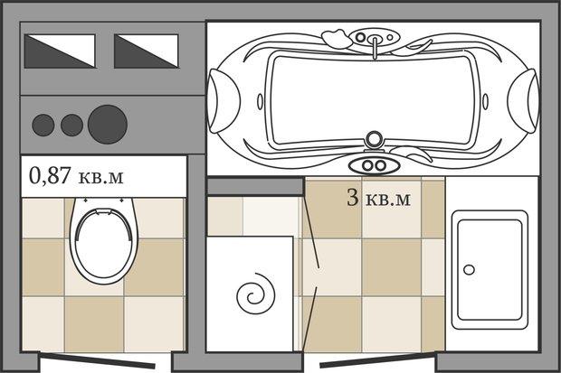 Фотография: Ванная в стиле Скандинавский, Перепланировка, ИП-46с, Анастасия Киселева – фото на InMyRoom.ru