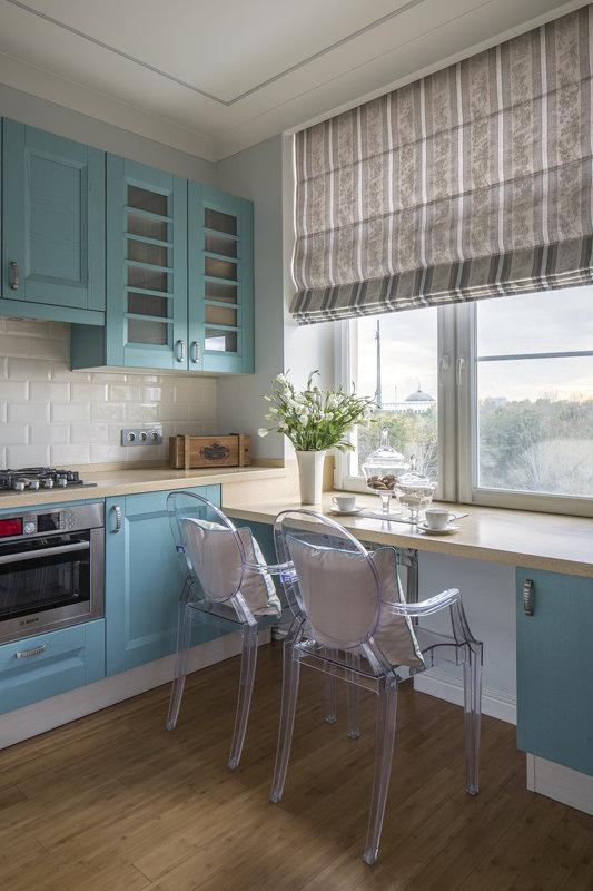 Голубая кухня в скандинавском стиле