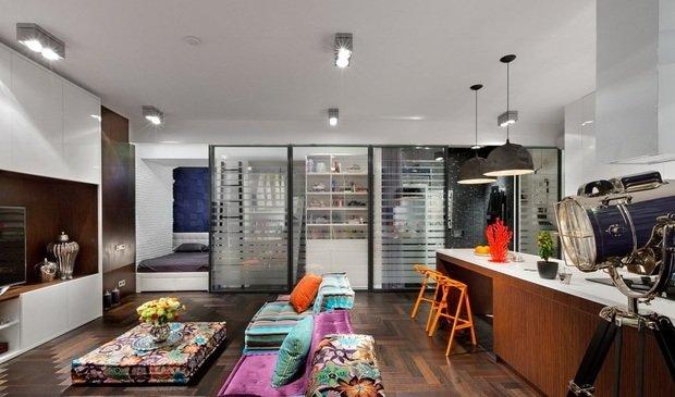 Фотография: Гостиная в стиле Лофт, Спальня, Малогабаритная квартира, Квартира, Дома и квартиры, Перепланировка – фото на InMyRoom.ru