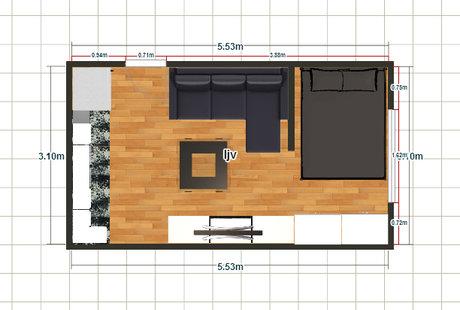 Будет ли комфортно в такой атмосфере комната 5.5 на 3.1 м .Набросал по быстрому интересует планировка и расстановка мебели.