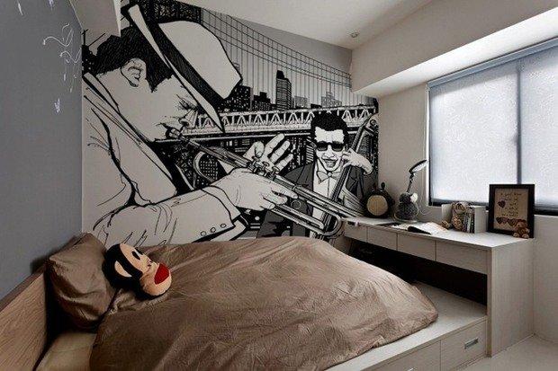 Фотография: Спальня в стиле Современный, Квартира, Дома и квартиры, Поп-арт – фото на InMyRoom.ru