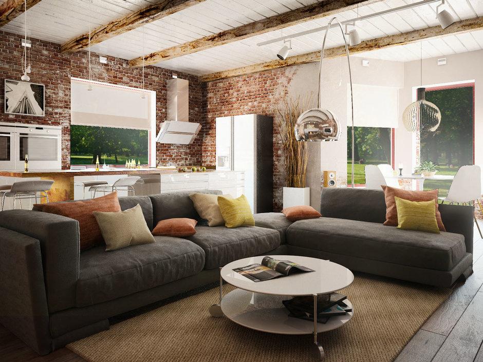 Фотография: Гостиная в стиле Лофт, Квартира, Дом, Дома и квартиры, Проект недели – фото на InMyRoom.ru