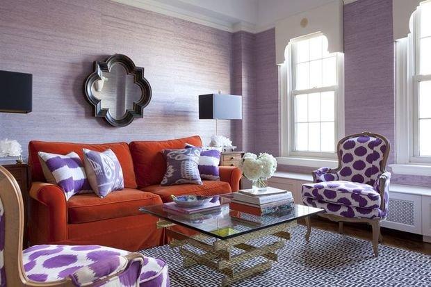 Фотография: Гостиная в стиле Классический, Современный, Эклектика, Декор интерьера, Дизайн интерьера, Цвет в интерьере, Оранжевый – фото на InMyRoom.ru