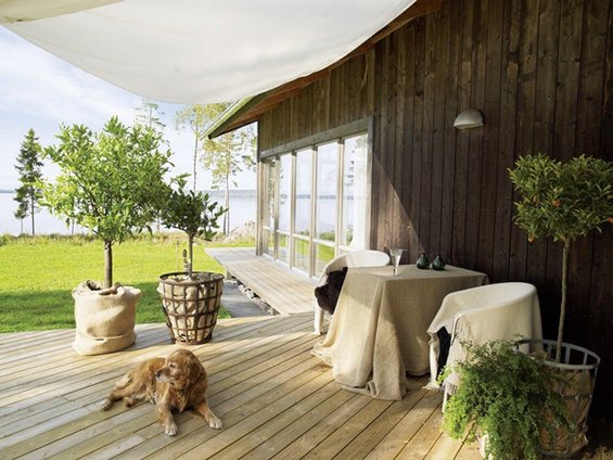 Фотография: Терраса в стиле Минимализм, Эко, Дом, Дома и квартиры, Большие окна, Дом на природе – фото на INMYROOM