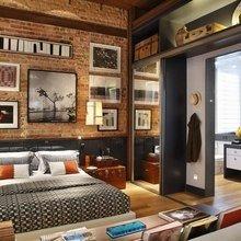 Фотография: Спальня в стиле Лофт, Квартира, Дома и квартиры, Стеллаж, Барная стойка – фото на InMyRoom.ru