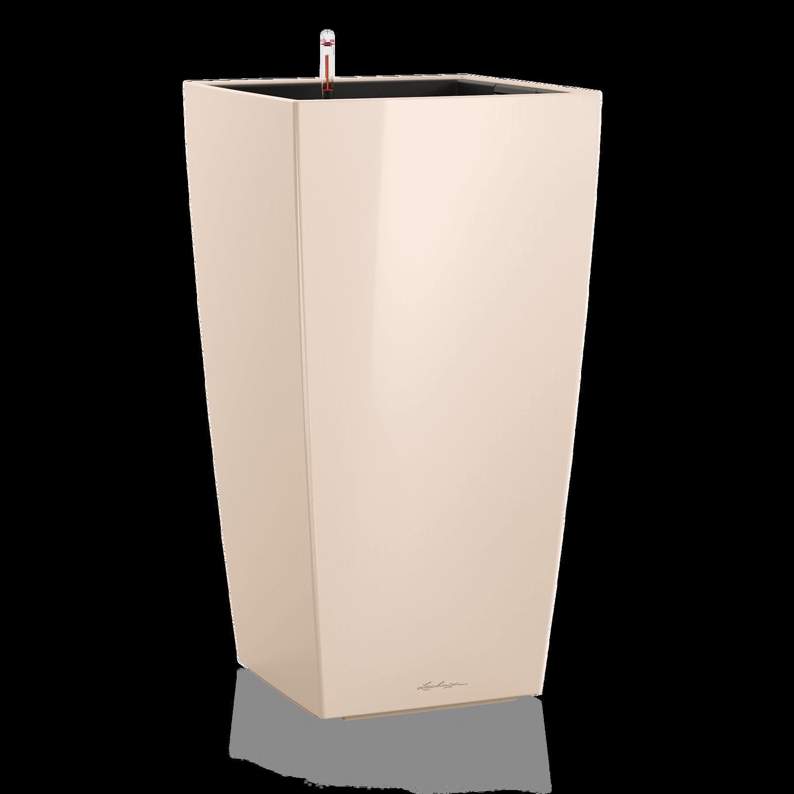 Кашпо кубико пастельно-бежевого цвета с системой автополива