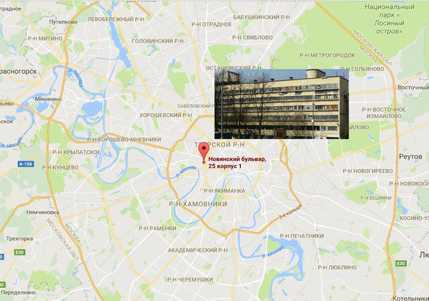 Дом Наркомфина на карте Москвы