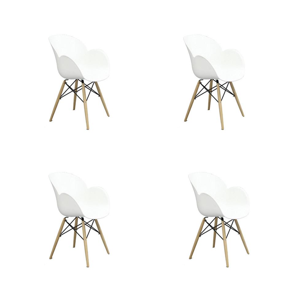 Купить Набор из четырех стульев на деревянных ножках белого цвета, inmyroom, Китай