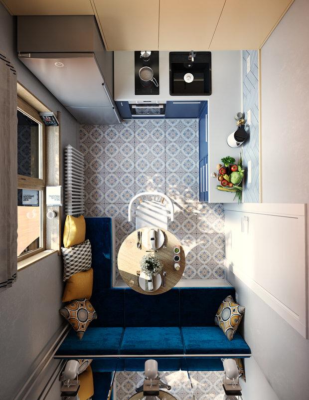Фотография: Кухня и столовая в стиле Современный, Перепланировка, Панельный дом, 1 комната, до 40 метров, Мария Лазич, Flatforfox, дизайн-баттл, П-44Т, Maryart – фото на INMYROOM