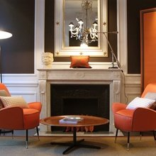 Фотография: Гостиная в стиле Кантри, Классический, Современный, Эклектика, Декор интерьера, Дизайн интерьера, Цвет в интерьере, Оранжевый – фото на InMyRoom.ru