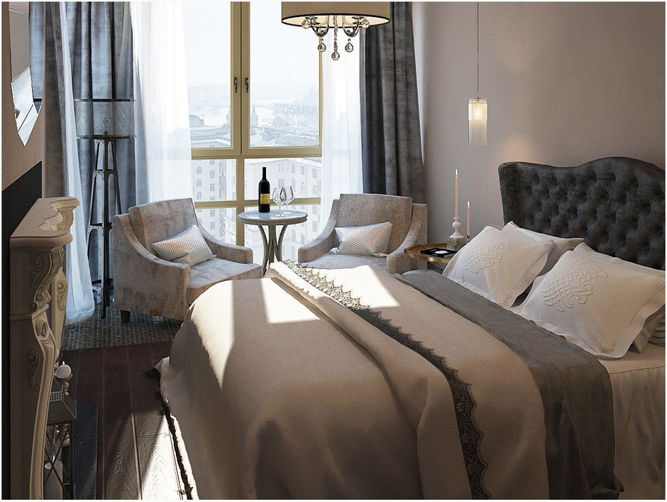 Фотография: Спальня в стиле Прованс и Кантри, Квартира, Цвет в интерьере, Дома и квартиры, Проект недели, Серый – фото на InMyRoom.ru