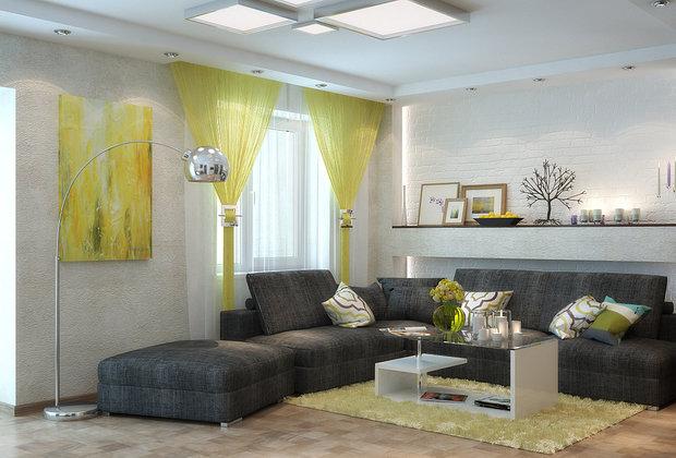 Фотография: Гостиная в стиле Современный, Декор интерьера, Декор, текстиль в интерьере, декор окна, выбор штор для интерьера – фото на InMyRoom.ru